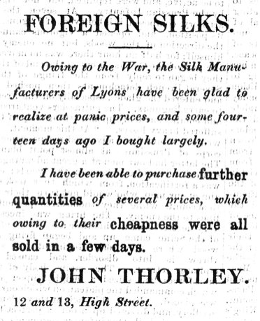 1870 1st Oct John Thorley