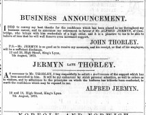 1872 Aug 10th Jermyn takes over Thorleys @ Nos 12 & 13