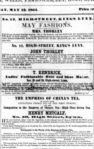 1854 May 13th John Thorley @ No 12