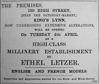 1905 Mar 31st Ethel Letzer opens
