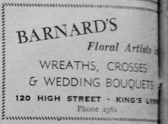 1951 Nov 23rd Barnards Floral Artists