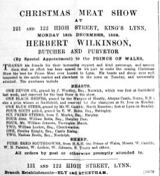 1893 Dec 16th Wilkinsons meat show