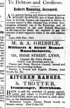 1858 2nd Jan M & A Gribble at No 121