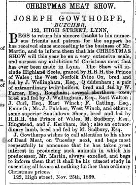 1869 Dec 18th Joseph Gowthorpe @ No 122