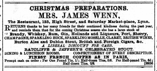 1889 December 7th Mrs James Wenn @ No 123