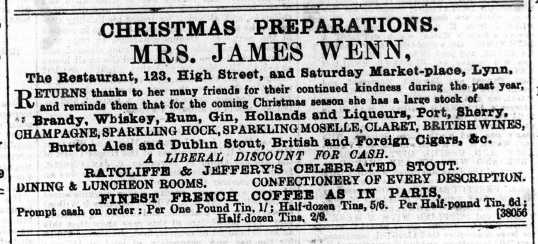 1889 December 7th Mrs Wenn @ No 123