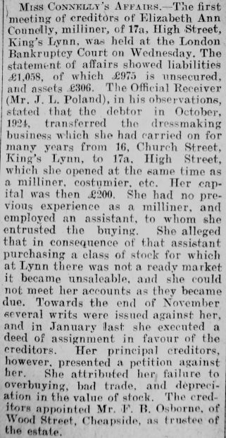 1926 Mar 19th Miss Connell milliner in bankruptcy