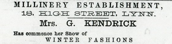 1882 21st Oct Mrs G Kendrick @ No 18