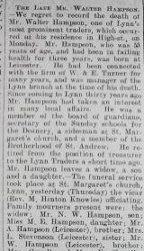 1929 Aug 9th obit Walter Hamson mgr W & E Turner