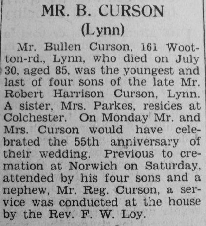1945 Aug 10th obit Bullen Curson