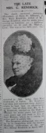 1929 Feb 22nd obit Mrs Kendrick 1