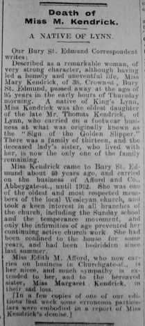 1929 Mar 1st obit Miss Mary Kendrick