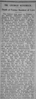 1939 Nov 10th obit George Kendrick 1