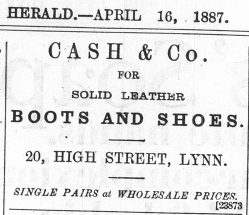1887 April 16th Cash & Co @ No 20