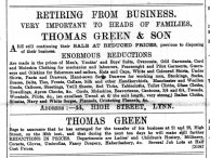 1888 August 18th Thomas Green retiring @ No 44