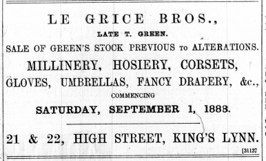 1888 August 25th Le Grice Bros @ 21 & 22