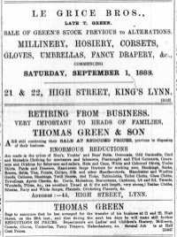 1888 August 25th Le Grice late Green @ 21 & 22