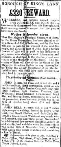 1850 Jan 19th John Kirk missing