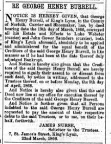 1866 March 24th G H Burrells estate @ No 22