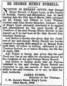 1866 March 24th G H Burrells estate to Luke Webster @ 107