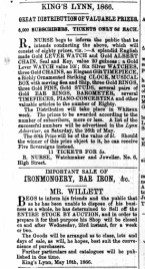 1866 May 19th Chas Willett @ 23 to 26