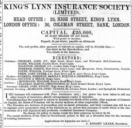 1869 Sept 11th K L Insurance Soc @ No 23