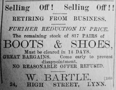 1890 Sept 6th W Bartle selling off