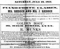 1854 July 22nd R Munks on his own @ No 33