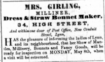 1854 April 29th Mrs Girling @ No 34