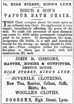 1876 Feb 5th John R Cossons @ 74