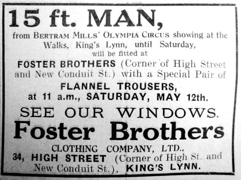 1934 May 11th Fosters 15ft man