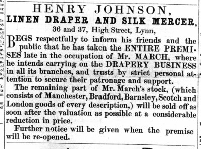 1859 Aug 27th Henry Johnson opens @ Nos 36 & 37