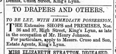 1864 October 29th Henry Johnsons old shop for sale @ Nos 36 & 37