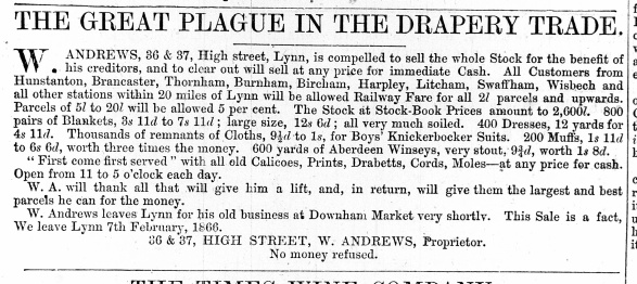 1866 Jan 27th W Andrews sells up @ Nos 36 & 37