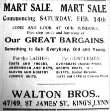 1931 Feb 13th Waltons @ St James Street