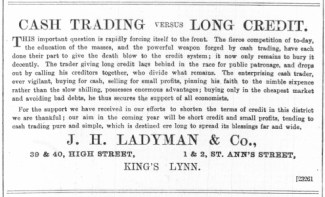 1887 Jan 15th J H Ladyman @ Nos 39 & 40