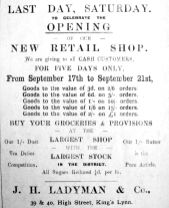 1912 Sept 17th Ladymans reopening 17th