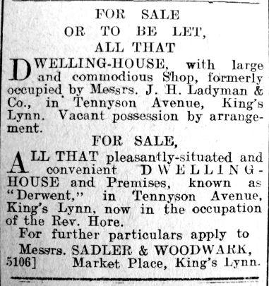 1921 Nov 25th Ladymans Tennyson Ave prop for sale