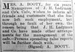 1929 March 1st Ladymans manageress
