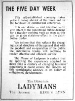 1947 Jan 7th Ladymans 5 day week
