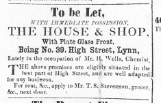 1860 Aug 25th No 39 to let (last occupier Henry Wells)