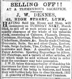 1892 Mar 19th Dennes selling off