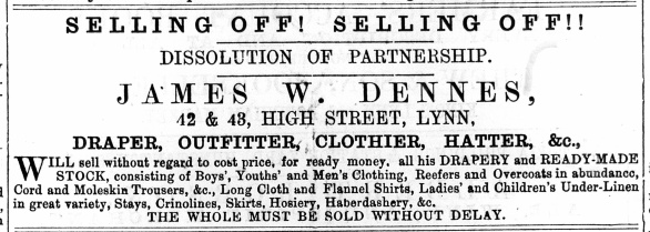 1874 August 29th James W Dennes end of partnership @ Nos 42 & 43
