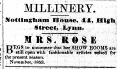 1853 Nov 19th Mrs Rose @ No 44
