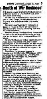 1999 Aug 20th obit Eddie Sillis ex Queens Head