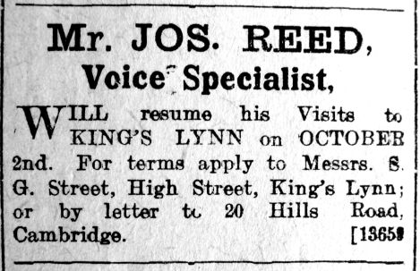 1923 Sept 21st Jos Reed voice coach @ Streets