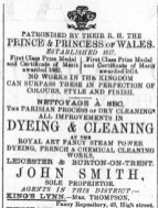 1887 April 2nd Smiths cleaning @ Mrs Thompsons @ No 49