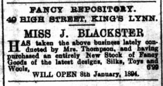 1893 December 30th Miss J Blackster opens @ No 49