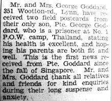 1944 Jan 14th George Goddard PoW report