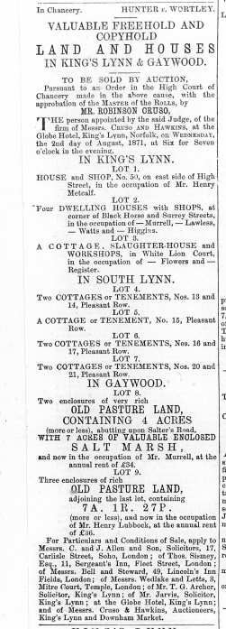 1871 July 22nd No 50 for sale Henry Metcalf